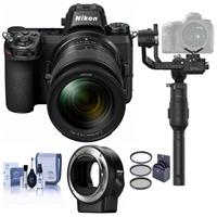 Image of Nikon Z7 FX-Format Mirrorless Camera with NIKKOR Z 24-70mm f/4 S Lens - Bundle With Nikon Mount Adapter FTZ, DJI Ronin-S 3-Axis Gimbal Essentials Kit, 72mm Filter Kit, Cleaning Kit