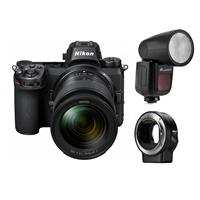 Image of Nikon Z7 FX-Format Mirrorless Camera with NIKKOR Z 24-70mm f/4 S Lens - With Nikon Mount Adapter FTZ, Flashpoint Zoom Li-on X R2 TTL On-Camera Round Flash Speedlight For Nikon (V1)
