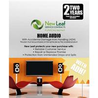 Image of New Leaf PLUS - 2 Year Home Audio Service Plan with Accidental Damage Coverage (for Drops & Spills) for Products Retailing up to $100.00
