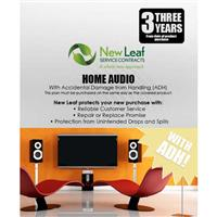 Image of New Leaf PLUS - 3 Year Home Audio Service Plan with Accidental Damage Coverage (for Drops & Spills) for Products Retailing up to $100.00
