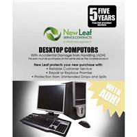 Image of New Leaf PLUS - 5 Year Desktop Computer Service Plan with Accidental Damage Coverage (for Drops & Spills) for Products Retailing up to $4000.00