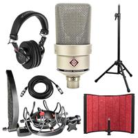 Image of Neumann TLM 103 Large-Diaphragm Condenser Microphone - Mono Set - Nickel Bundle with Rycote InVision Studio Kit, Isolation Filter, Headphones, Tripod Mic Stand and XLR Cable