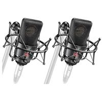 Image of Neumann 2x TLM 103 MT Stereo Microphone with 2x EA 1 Elastic Suspension Shock Mount and Aluminum Case, Black