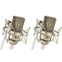 Image of Neumann 2x TLM 103 Stereo Microphone with 2x EA 1 Elastic Suspension Shock Mount and Aluminum Case, Nickel
