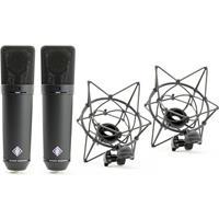 Image of Neumann Stereo Pair Kit, Includes 2 x U87 Ai MT Condenser Microphone, 2 x EA 87 MT Elastic Suspension, 2 x Dust Cover, Storage Case, Black