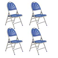Compare Prices Of  National Public Seating 4 Pack 1105 Deluxe Fan Back with Triple Brace Double Hinge Folding Chair, Blue Surface, Gray Frame