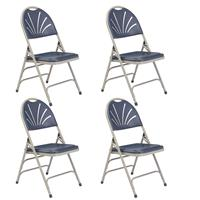 Image of National Public Seating 4 Pack 1115 Deluxe Fan Back with Triple Brace Double Hinge Folding Chair, Dark Blue Surface, Gray Frame