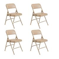 Image of National Public Seating 4 Pack 1201 Premium Vinyl Upholstered Double Hinge Folding Chair, French Beige Surface, Beige Frame