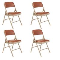 Image of National Public Seating 4 Pack 1203 Premium Vinyl Upholstered Double Hinge Folding Chair, Honey Brown Surface, Beige Frame