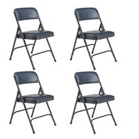 Image of National Public Seating 4 Pack 1204 Premium Vinyl Upholstered Double Hinge Folding Chair, Dark Midnight Blue Surface, Blue Frame