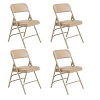 Image of National Public Seating 4 Pack 1301 Premium Vinyl Upholstered Triple Brace Double Hinge Folding Chair, French Beige Surface, Beige Frame