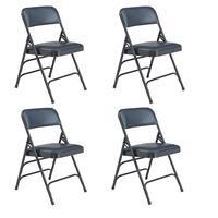 Image of National Public Seating 4 Pack 1304 Premium Vinyl Upholstered Triple Brace Double Hinge Folding Chair, Dark Midnight Blue Surface, Blue Frame