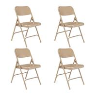 Compare Prices Of  National Public Seating 4 Pack 201 Premium All-Steel Double Hinge Folding Chair, Beige Surface, Beige Frame