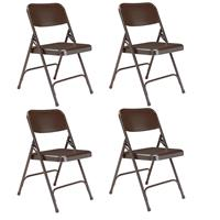 Image of National Public Seating 4 Pack 203 Premium All-Steel Double Hinge Folding Chair, Brown Surface, Brown Frame