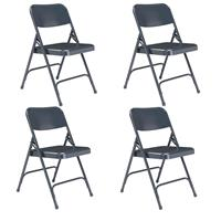 Compare Prices Of  National Public Seating 4 Pack 204 Premium All-Steel Double Hinge Folding Chair, Blue Surface, Blue Frame