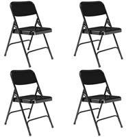 Image of National Public Seating 4 Pack 210 Premium All-Steel Double Hinge Folding Chair, Black Surface, Black Frame