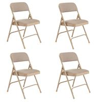 Image of National Public Seating 4 Pack 2201 Deluxe Fabric Upholstered Double Hinge Premium Folding Chair, Cafe Beige Surface, Beige Frame