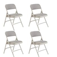 Image of National Public Seating 4 Pack 2202 Deluxe Fabric Upholstered Double Hinge Premium Folding Chair, Graystone Surface, Gray Frame
