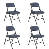 Image of National Public Seating 4 Pack 2204 Deluxe Fabric Upholstered Double Hinge Premium Folding Chair, Imperial Blue Surface, Char-Blue Frame