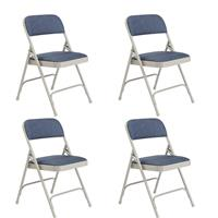 Image of National Public Seating 4 Pack 2205 Deluxe Fabric Upholstered Double Hinge Premium Folding Chair, Imperial Blue Surface, Gray Frame