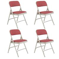 Image of National Public Seating 4 Pack 2208 Deluxe Fabric Upholstered Double Hinge Premium Folding Chair, Majestic Cabernet Surface, Gray Frame