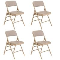 Image of National Public Seating 4 Pack 2301 Deluxe Fabric Upholstered Triple Brace Double Hinge Premium Folding Chair, Cafe Beige Surface, Beige Frame