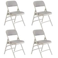 Compare Prices Of  National Public Seating 4 Pack 2302 Deluxe Fabric Upholstered Triple Brace Double Hinge Premium Folding Chair, Graystone Surface, Gray Frame