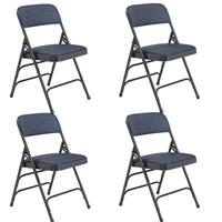 Image of National Public Seating 4 Pack 2304 Deluxe Fabric Upholstered Triple Brace Double Hinge Premium Folding Chair, Imperial Blue Surface, Blue Frame