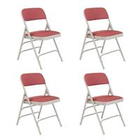 Image of National Public Seating 4 Pack 2308 Deluxe Fabric Upholstered Triple Brace Double Hinge Premium Folding Chair, Majestic Cabernet Surface, Gray Frame