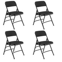 Image of National Public Seating 4 Pack 2310 Deluxe Fabric Upholstered Triple Brace Double Hinge Premium Folding Chair, Midnight Black Surface, Black Frame