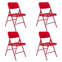 Image of National Public Seating 4 Pack 240 Premium All-Steel Double Hinge Folding Chair, Red Surface, Red Frame
