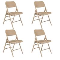 Image of National Public Seating 4 Pack 301 Deluxe All-Steel Triple Brace Double Hinge Folding Chair, Beige Surface, Beige Frame