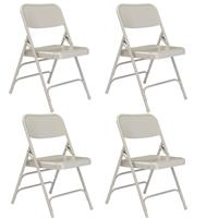 Image of National Public Seating 4 pack 302 Deluxe All-Steel Triple Brace Double Hinge Folding Chair, Gray Surface, Gray Frame