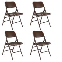Compare Prices Of  National Public Seating 4 pack 303 Deluxe All-Steel Triple Brace Double Hinge Folding Chair, Brown Surface, Brown Frame