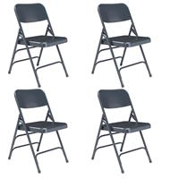 Image of National Public Seating 4 Pack 304 Deluxe All-Steel Triple Brace Double Hinge Folding Chair, Blue Surface, Blue Frame