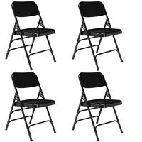 Image of National Public Seating 4 Pack 310 Deluxe All-Steel Triple Brace Double Hinge Folding Chair, Black Surface, Black Frame