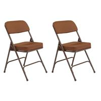"""Image of National Public Seating 2 Pack 3219 Premium 2"""" Fabric Upholstered Double Hinge Folding Chair, Antique Gold Surface, Textured Brown Frame"""