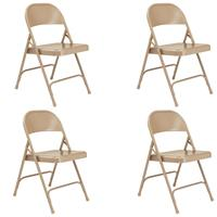Image of National Public Seating 4 _Pack 51 All-Steel Folding Chair, Beige Surface, Beige Frame