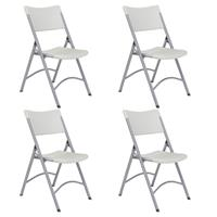 Image of National Public Seating 4 Pack 602 Heavy Duty Plastic Folding Chair, Speckled Gray Surface, Textured Gray Frame