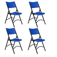 Image of National Public Seating 4 Pack 604 Heavy Duty Plastic Folding Chair, Blue Surface, Black Frame