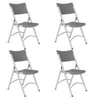 Compare Prices Of  National Public Seating 4 Pack 620 Heavy Duty Plastic Folding Chair, Charcoal Slate Surface, Silver Frame