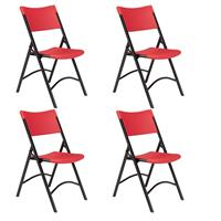Image of National Public Seating 4 Pack 640 Heavy Duty Plastic Folding Chair, Red Surface, Black Frame