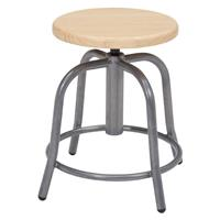 """Image of National Public Seating 6800 Series 19""""-25"""" Height Adjustable Designer Stool, Wooden Seat, Gray Frame"""