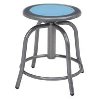 """Image of National Public Seating 6800 Series 18""""-24"""" Height Adjustable Designer Stool, Blueberry Seat, Gray Frame"""