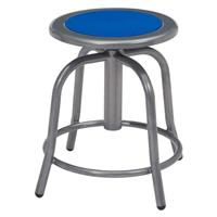 """Image of National Public Seating 6800 Series 18""""-24"""" Height Adjustable Designer Stool, Persian Blue Seat, Gray Frame"""