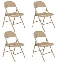Image of National Public Seating 4 Pack 901 Commercialine All-Steel Folding Chair, Supports 250 Lbs, Beige Surface, Beige Frame