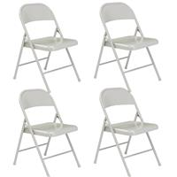 Image of National Public Seating 4 Pack 902 Commercialine All-Steel Folding Chair, Supports 250 Lbs, Gray Surface, Gray Frame