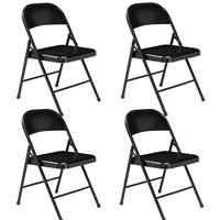 Image of National Public Seating 4 Pack 910 Commercialine All-Steel Folding Chair, Supports 250 Lbs, Black Surface, Black Frame