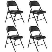 Image of National Public Seating 4 Pack 950 Commercialine Vinyl Padded Steel Folding Chair, Supports 250 Lbs, Black Surface, Black Frame