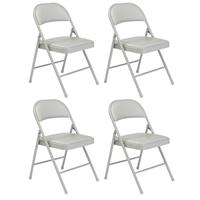 Image of National Public Seating 4 Pack 952 Commercialine Vinyl Padded Steel Folding Chair, Supports 250 Lbs, Gray Surface, Gray Frame